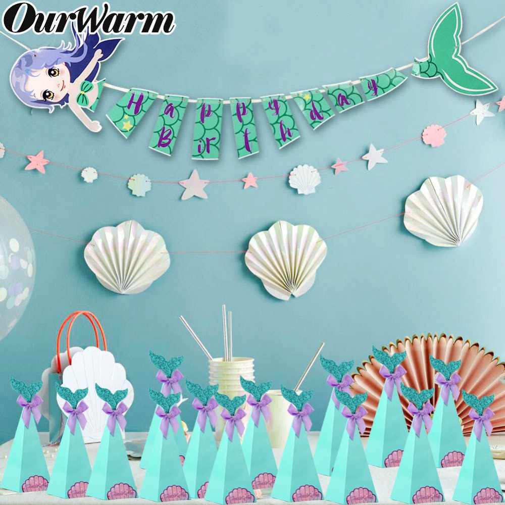 OurWarm Mermaid Party Decoration Cute Little Mermaid Candy Box Happy Birthday Banner for Kids Favor Under the Sea Party Supplies