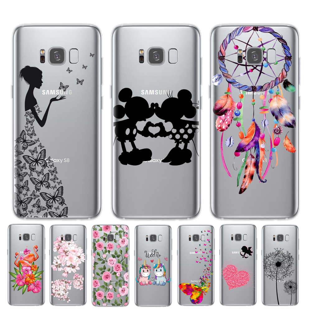 Cartoon Butterfly Pattern Soft TPU Silicone Phone Back Case Cover For Samsung Galaxy S6 S7 Edge S8 S9 S10 Plus S10E 5G Cuque