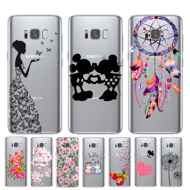 Cartoon Butterfly Pattern Soft TPU Silicone Phone Back Case Cover For Samsung Galaxy S6 S7 Edge S8 S9 Plus Note 8 9 Flower Coque