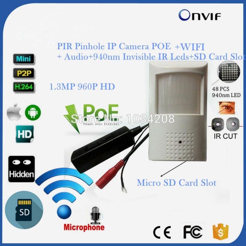 960P 1.3MP POE Wifi Wireless Night Vision PIR Mini IP Camera Security Pin hole NetworkIP Indoor Surveillance CCTV Mini IP Kamera 2 1mm 150 grad weitwinkel objektiv 720 p cmos 1 0mp cctv mini ip kamera