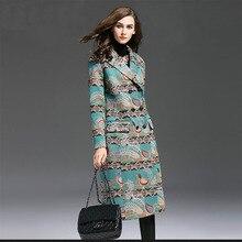 Большие размеры; осенние и зимние модные женские длинный Тренч пальто длинный рукав двубортный полиэстер тонкий Добби вышивка траншеи