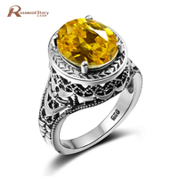Luxury Brand Women Bulgaria Ring Bohemia Created Yellow Crystal Big Rings Vintage Solid Silver 925 Jewelry