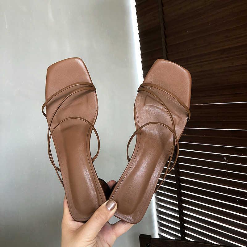 BEIJO Molhado chinelos De Salto Alto Mulheres sapatos De verão 2019 Novos Slides Mulas Madeira Estilo Estranho sapatos De senhoras De couro De Vaca Sapatos femininos