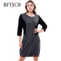 2016 Autumn Winter Women S Casual Dress Vintage Zipper Splicing European Stylish Women Elegant Office Dresses