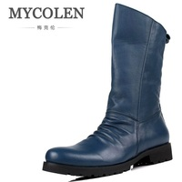 MYCOLEN High Quality Genuine Leather Men High Top Martin Boots Black Motorcycle Boots Leisure Men Shoes Motorlaarzen Mannen
