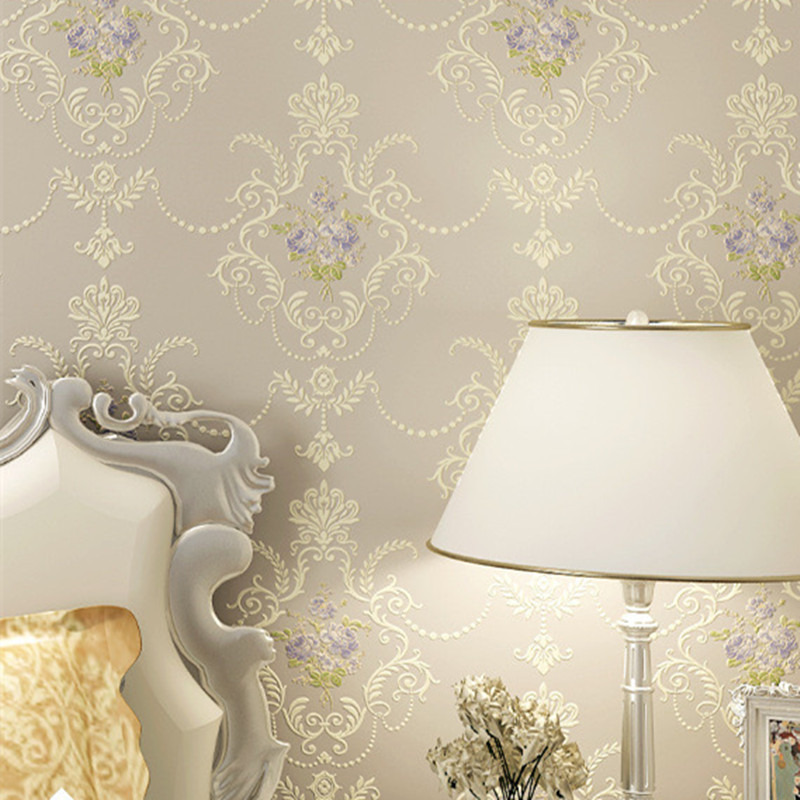 Stereoscopic Wallpaper Embossed Damask Contact Paper S Bedroom Fl Mural Roll Fabric Pink White Rose Photo In Wallpapers From Home