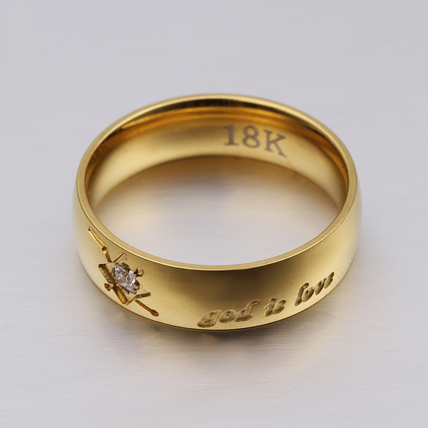 New Design Jewelry God Is Love Lovers Rings Mens Gold Ring Gift