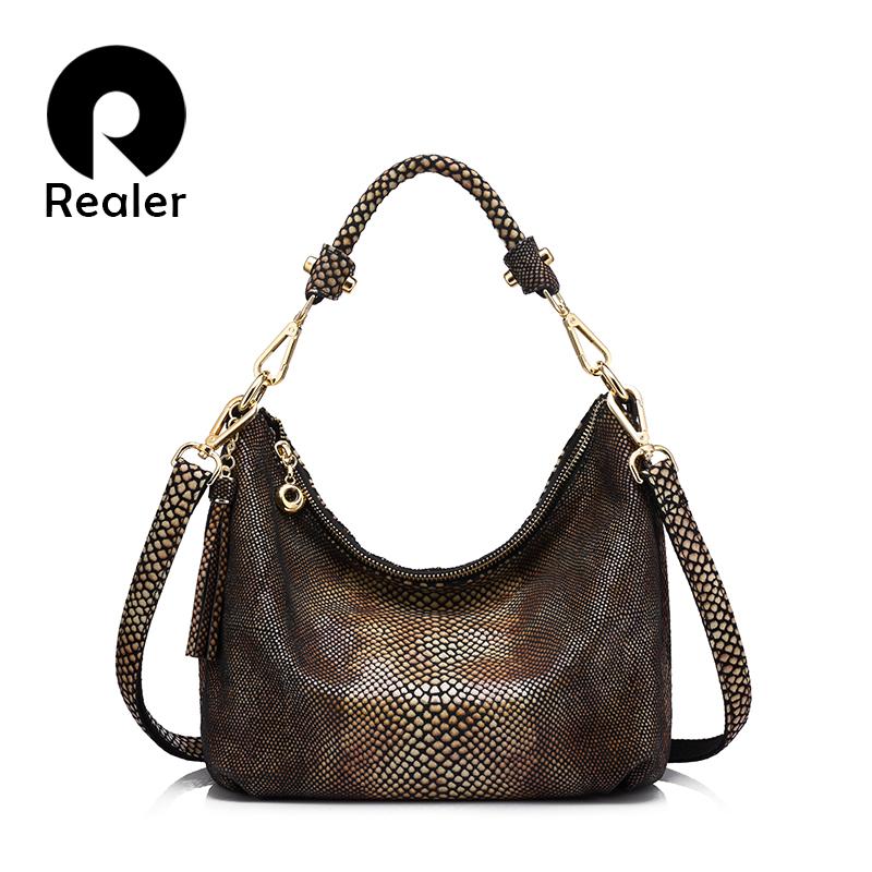 Prix pour REALER marque véritable sac à main en cuir femmes épaule gland sac femelle petit fourre-tout sac or python motif en cuir messenger sacs