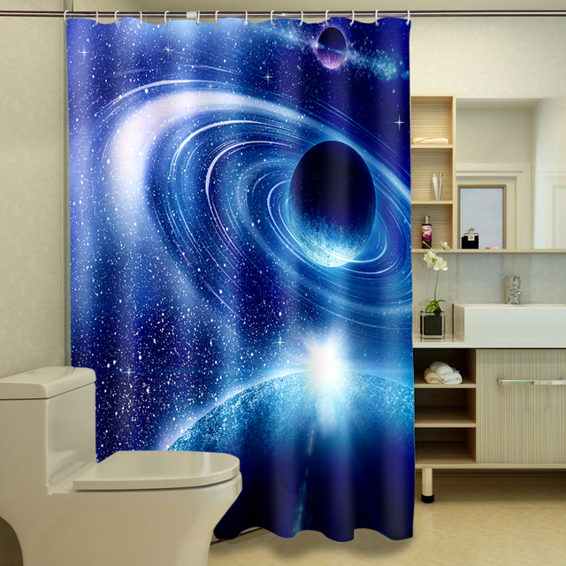 New 3D Shower Curtains Blue Planet Space Pattern Waterproof Fabric Bathroom Washable Products 12