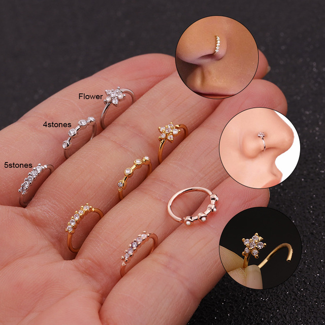 Feelgood 1PC Silver And Gold Color Nose Piercing Jewelry Cz Nose Hoop Nostril Ring Flower Helix Cartilage Tragus Earring