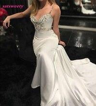 vestido де noiva новое прибытие бретельках Русалка невесты платье без спинки Кристалл свадебные платья ослепительная Пром
