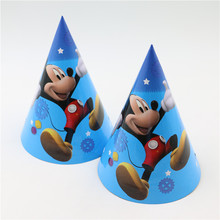 Happy Birthday Mickey Mouse Cartoon Theme Caps Baby Shower Party Decoration Kids Favors Disposable Hats Supplies 6pcslot