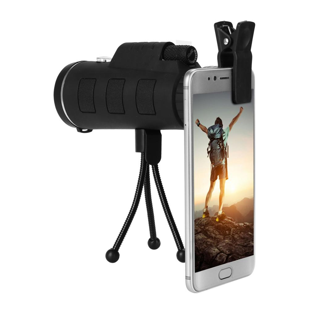HD mini 40X60 Telescope Zoom Mobile Phone Lens for iPhone Samsung Smartphones universal clip Camera Lens with tripod+ Compass image