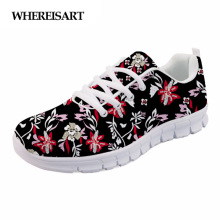 WHEREISART Women Black Shoes 2019 Spring Female Sneakers Tropical Plants Flower Ladies Flats Zapatos de Mujer Chaussures Femme