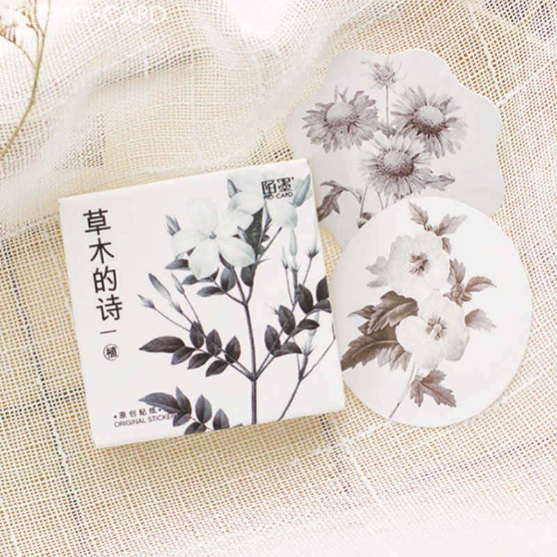 45PCS/lot Simple elegant plant collection album decorative sticker diy hand gift bag sealing kawaii Diary stationery stickers bigbang 2016 welcoming collection release date 2016 03 02 kpop album