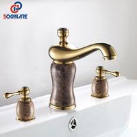 SOGNARE Bathroom Basin Faucet Golden With Jade Deck Mount Dual Handles Basin Faucet 3pcs Bathroom Lavatory