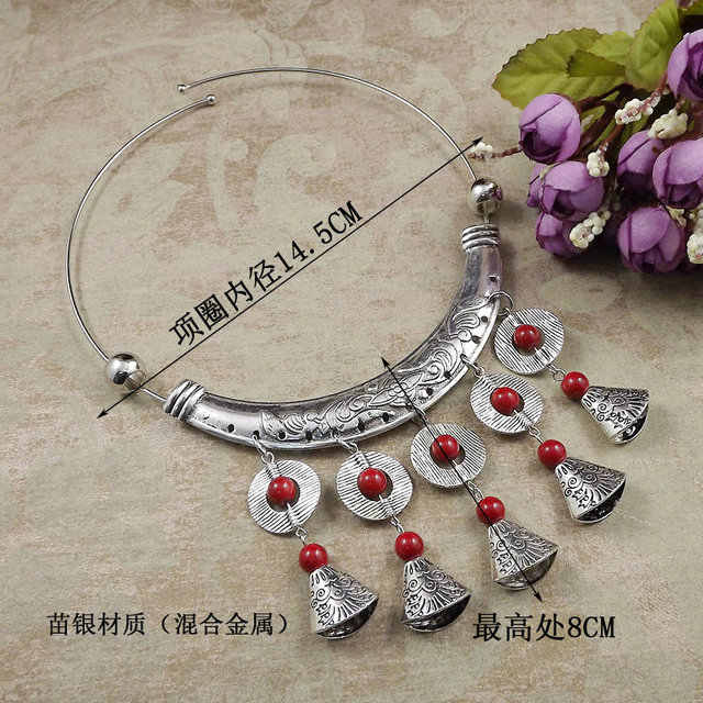 multiple styles can choose jewelry  National Style Retro Exaggerated Film and Television Miao Silver Dance Necklace A2539