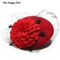 СМОТРИ! черный Простота Женщины Леди Классический Чародей Волос Pillbox Hat Цветок Войлок Коктейль Свадьбу Церковь Fedora