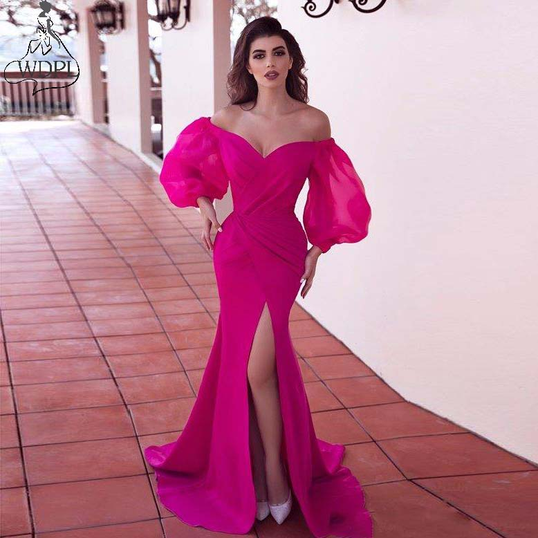 2019 Hot Pink Long Evening Dresses Off The Shoulder Satin Side Split Mermaid Prom Dress Sweep Train Long Sleeve Formal Gowns(China)