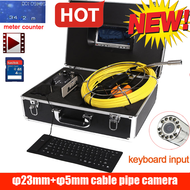 50m DVR Waterproof  Pipe Wall Sewer Inspection Camera System,Industrial Pipe Car Video Inspection Endoscope Camera With 14leds