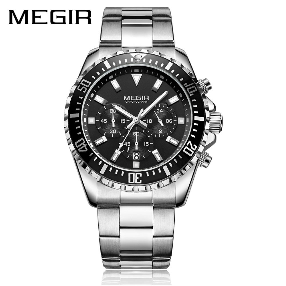 MEGIR Luxury Business Quartz Watch Men Brand Stainless Steel Chronograph Army Military Wrist Watch Clock Relogio Masculino Male luxury brand jedir male watches chronograph stainless steel quartz watch men business waterproof wrist watch relogio masculino