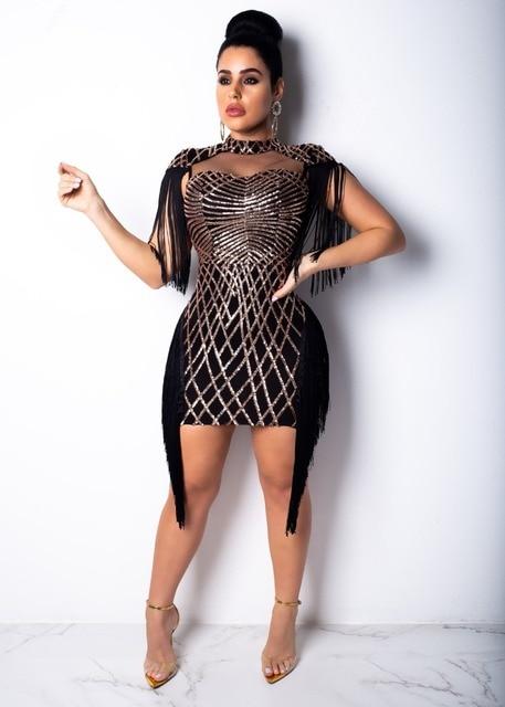 Women Sequined Geometric Tassel Mesh Mini Dress Eleagnt Bodycon Dresses  Party Dress Sleeveless Robe Femme Vintage 4617da5d2522