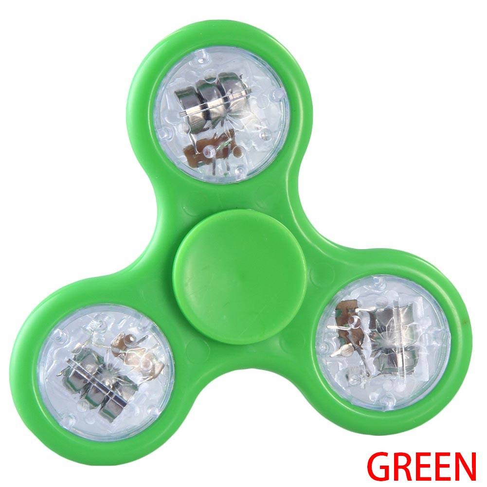 1 Pcs Candy Color Transparent LED Fidget Toy Hand Spinner ADHD Stress Relief Toy