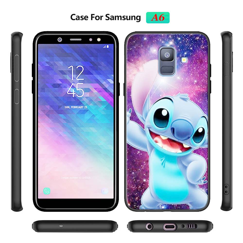 Cute Lilo Stitch Soft Phone Cases for Samsung Galaxy A10 A20 A30 A40 A50 A70 A6 A7 A8 Plus A9 M30 M20 Black Case Cover in Fitted Cases from Cellphones Telecommunications