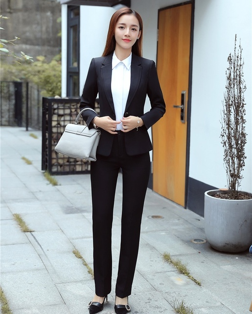 New Style Formal Ladies Black Blazer Women Business Suits with Pant and  Jacket Sets Elegant Office Uniform Designs 1017c9a8a40c