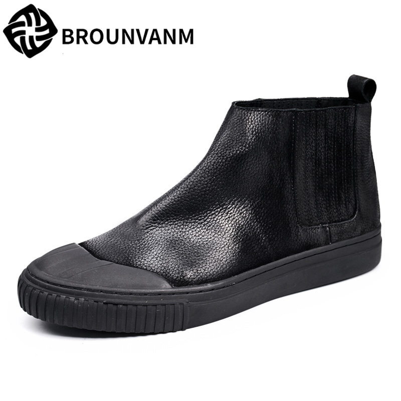 autumn winter British retro men shoes  sleeve high shoes retro Nubuck Leather boots Casual Shoes boots all-match round flat martin boots men s high boots korean shoes autumn winter british retro men shoes front zipper leather shoes breathable