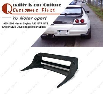Aksesoris Mobil FRP Fiber Glass Gracer Gaya Pisau Ganda Spoiler Belakang Cocok untuk 1995-1998 R33 GTR GTS Bagasi GT Wing
