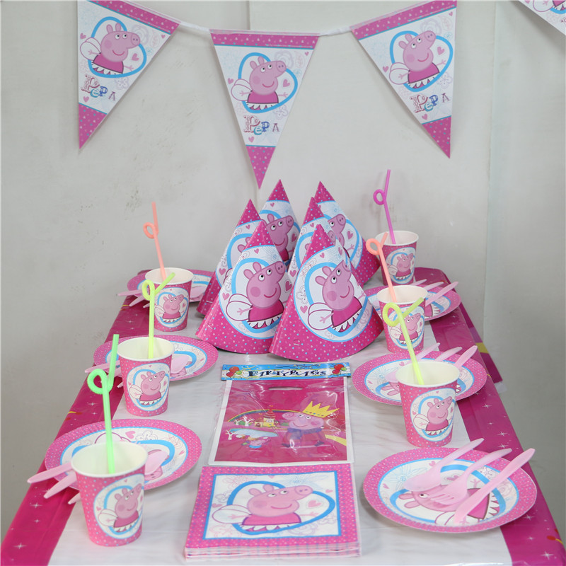 88pcs/lot <font><b>Peppa</b></font> <font><b>Pig</b></font> plates Theme Party kids <font><b>favors</b></font> straws happy birthday decoration <font><b>cups</b></font> napkins supplies cartoon paper glass