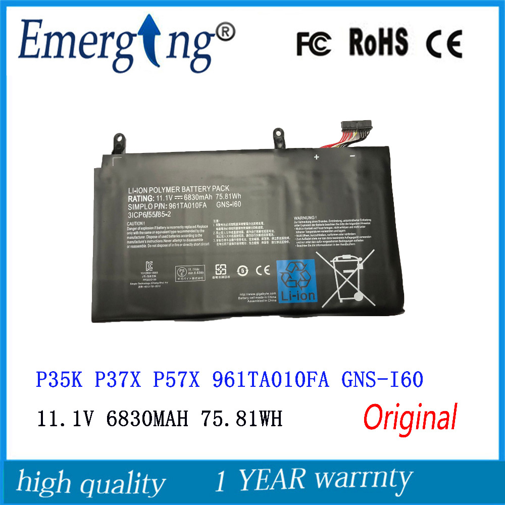 11.1V 75.81WH New Laptop Battery For GIGABYTE 961TA010FA GNS-160 GNS-I60 P35G V2 P35X V3 P37X V5 P57W P57X V6 P35K P35W V2 14 8v 73 26wh 4950mah gx 17s new original gx 17s laptop battery for gigabyte aorus x3 x3 plus v3 x7 x7 v2 x3 plus v5 x5s