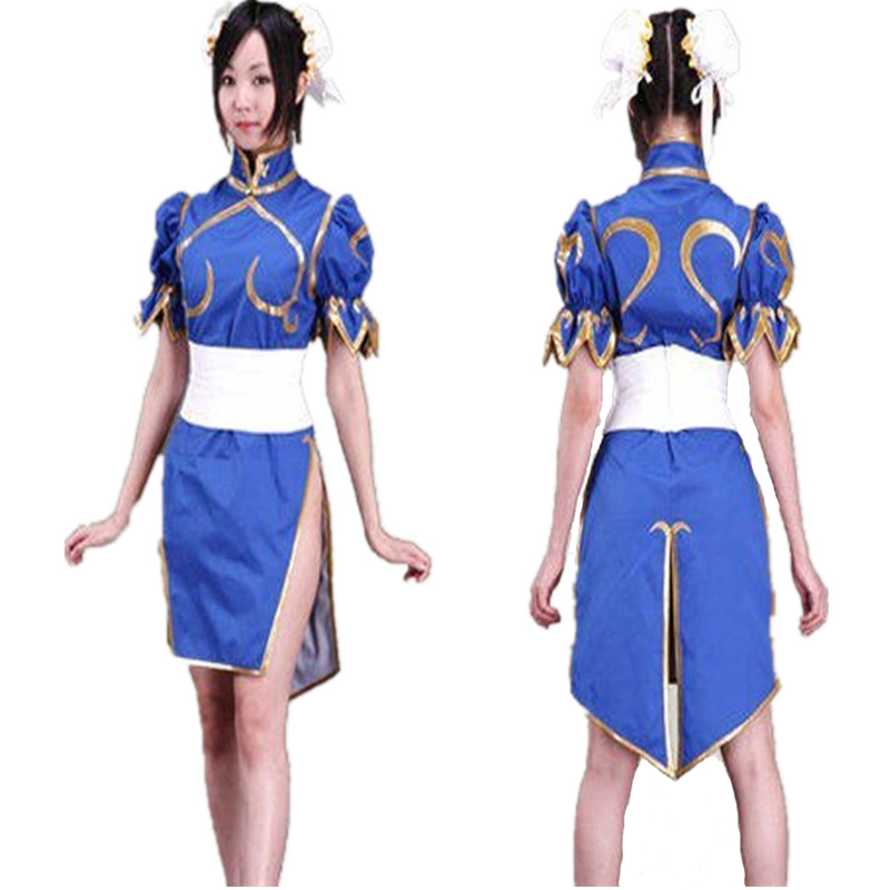 Anime Sakura Street Fighter Chun li cosplay costumes  Cosplay Summer Blue and Red Dress For Women and girls