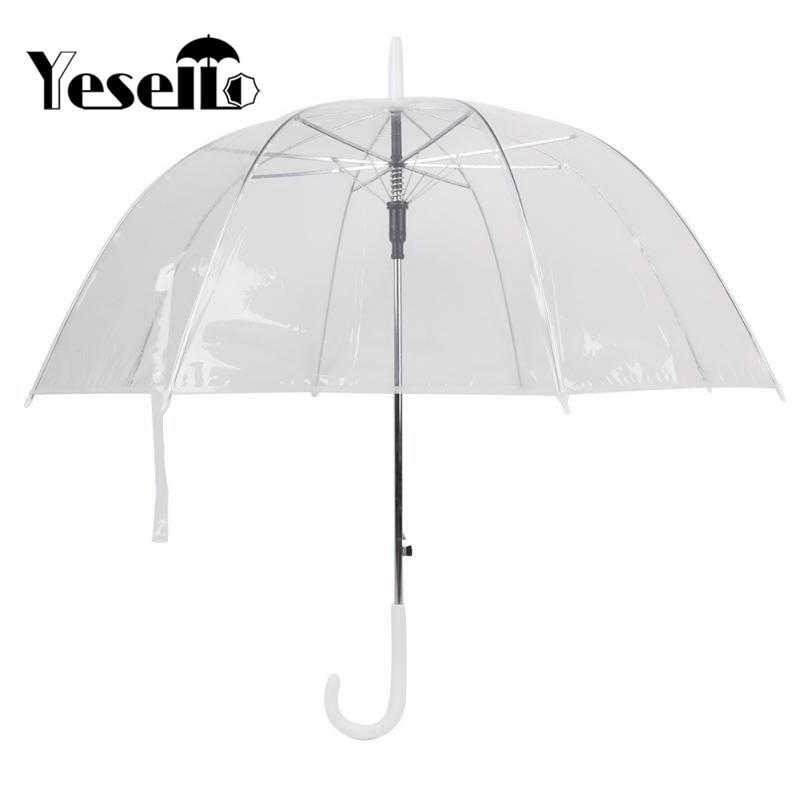 Yesello Пластик eva прозрачные листья клетку Солнечный зонтик дождь зонтик Для женщин полуавтоматическая Зонты ясно Paraguas