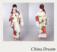Shanghai Story hot sale Vintage Japanese Style Dress Japan Women's Silk Satin Kimono Yukata Evening Dress white color H0043