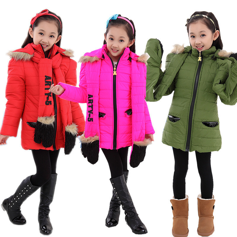 ФОТО  Rushed Time-limited Regular 80% Free Shipping Winter Section Of Girls Padded Jacket Warm Coat Scarf Clothes Baby Clothing