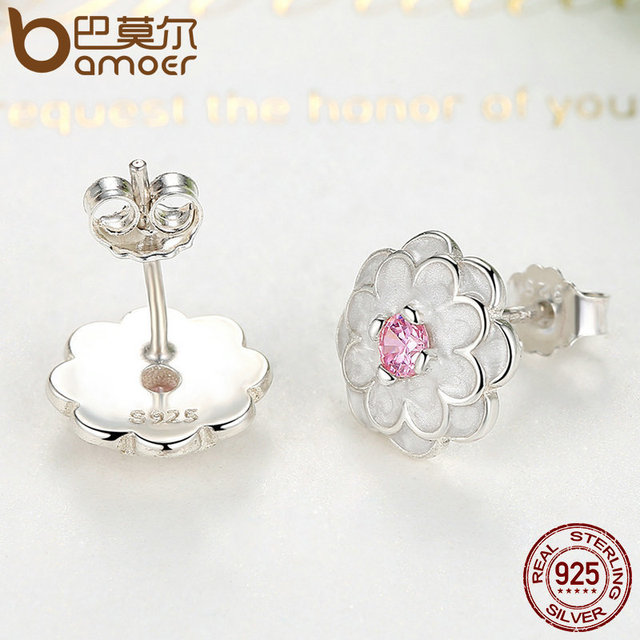 Sterling Silver White Flower Pink Clear CZ Jewelry Set