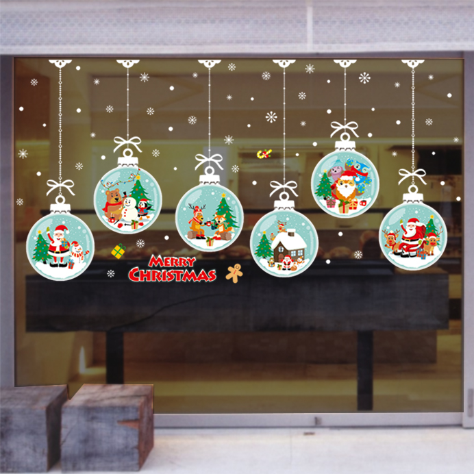 SHINE-CO Window Clings Christmas Stickers Window Decals Christmas Thanksgiving Party Decorations Supplies