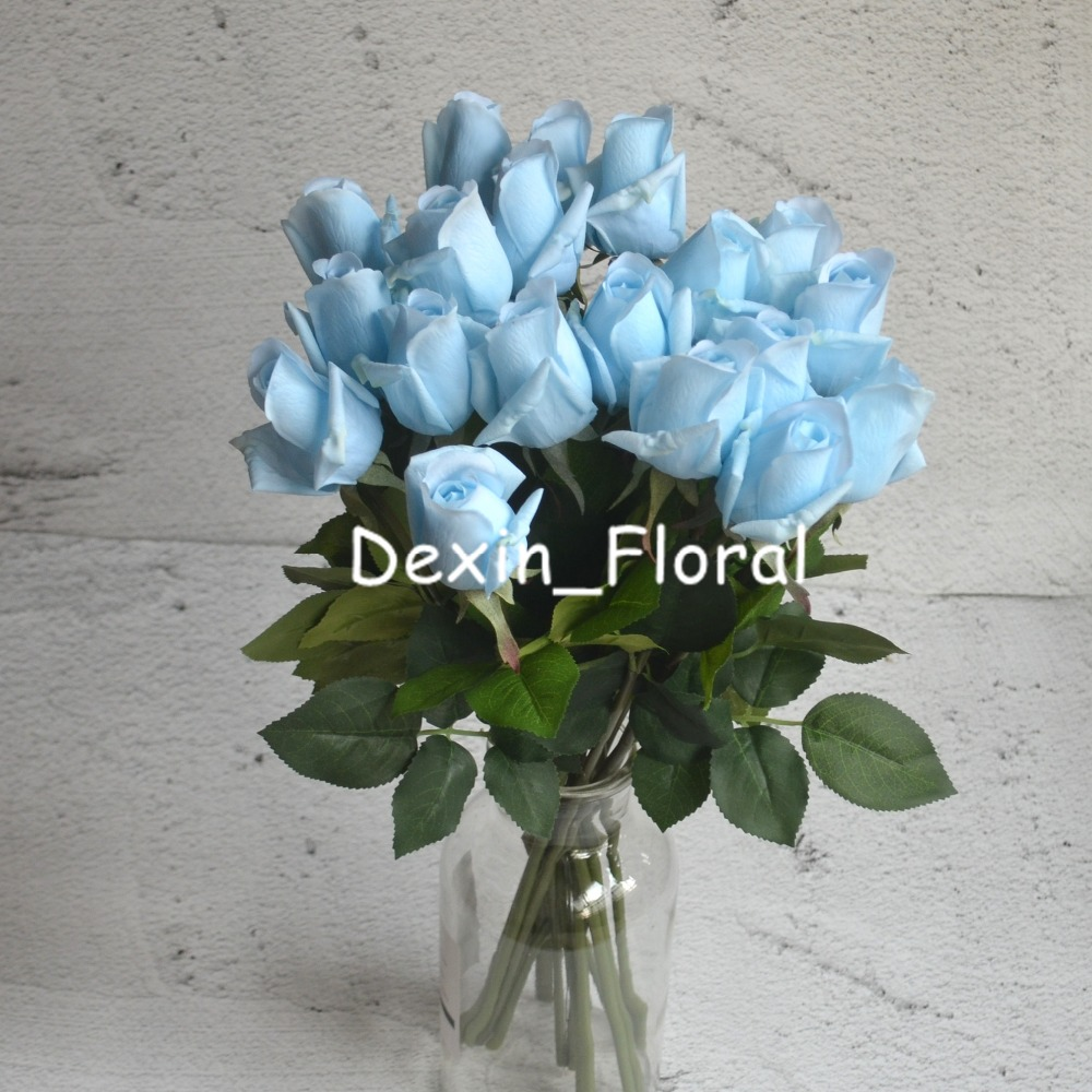 10 Stems Pale Blue Rose Buds Real Touch Roses Diy Silk Bridal