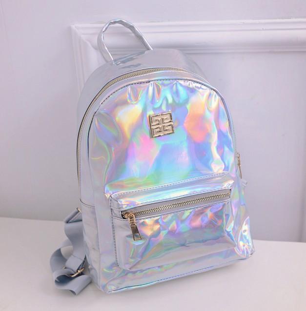 2016 학교용 홀로그램 백팩 여성용 레이저 실버 컬러 홀로그램 가방 Masculina backpack Multicolor