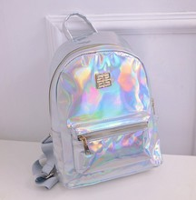 2016 hot selling Hologram Backpack For School Student Women's Laser Silver Color Holographic Bag Masculina backpack Multicolor celldeal mini hologram ladies women backpacks laser leather holographic mini multicolor for student school bags pink silver