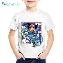 Детские футболки с принтом аниме «Ash And Goku» детские забавные летние футболки с рисунком «Dragon Ball Z Pokemon Go», топы для мальчиков и девочек, одежда для малышей, HKP5071