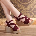 Nueva Moda de Verano Zapatos de Mujer Acuña las Sandalias de Tacón Alto 2017 nueva Gran Tamaño de la Boca de Pescado Nubnck Zapatos Sandalia de Las Mujeres de Cuero zapatos