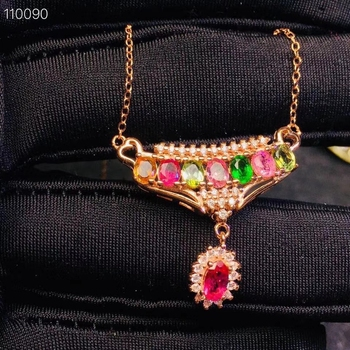 Natural Multicolor tourmaline Pendant necklace S925 silver Natural gemstone necklace Elegant crown Row Water drop women jewelery