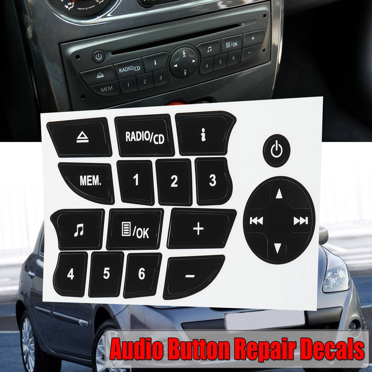 Car Button Repair Stickers CD Radio Audio Button Repair Decals Stickers For Twingo For Renault Clio And Megane 2009-2011