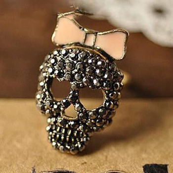 Free shipping~~DIY Skeleton ring with bow tie and rhinestone gift for  Valentine's day