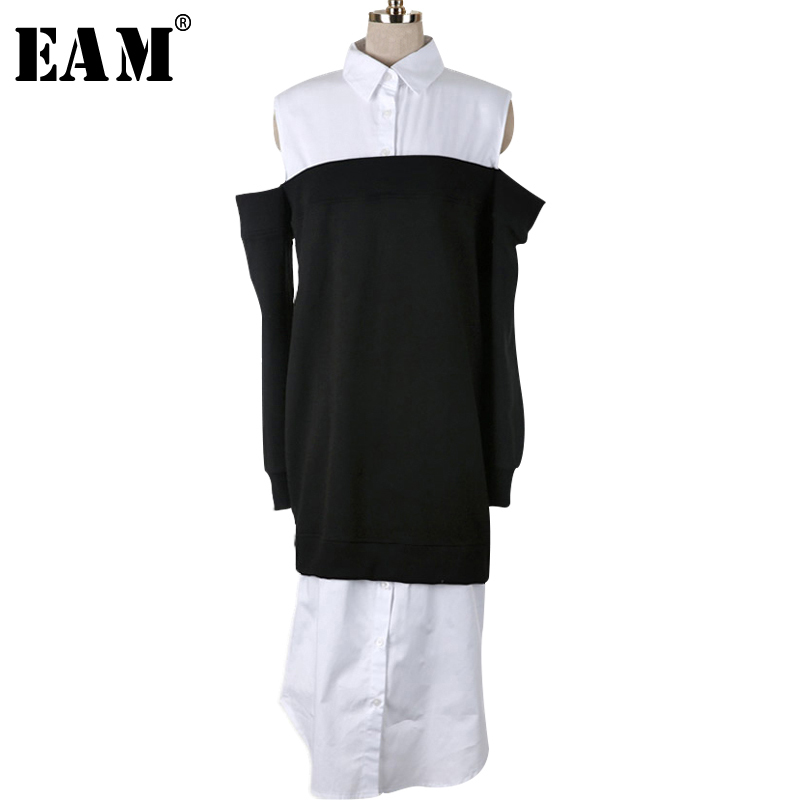 [EAM] 2018 New Summer Round Neck Long Sleeve Off Shoulder White Split Joint Loose Long Shirt Dress Women Fashion Tide JF937