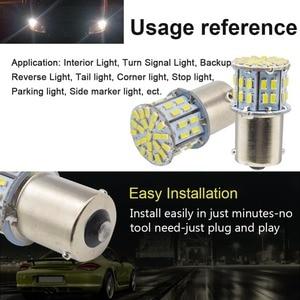 Image 5 - Safego 4 stücke 1156 BA15S LED Auto Lampen P21W Blinker Licht 7506 50 SMD 3014 Weiß Lampe 6000 K 12 V rücklichter Bremsleuchten