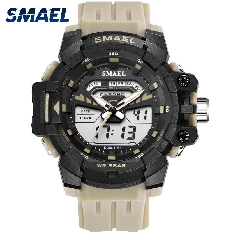 Permalink to Sport Watch Black SMAEL Clock 50M Waterproof Watch Luminous Hands Running Stop Watch 1712 Analog-Digital display Sports Watches